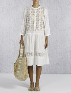Laurence Dolige Berry Lace Front Dress- Vintage White - KJs Laundry