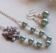 Bries Bridesmaids  Necklace and Earring Set  by lecollezione, $52.50