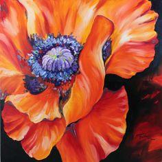 M BALDWIN ORIGINAL OIL PAINTING red POPPY ABSTRACT LARGE FLOWER ART 24 x 24 | eBay