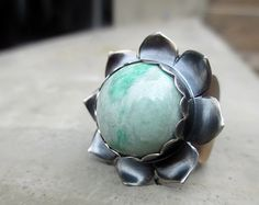 Lotus Flower Bliss Ring with Chrysoprase Heart by SilviasCreations