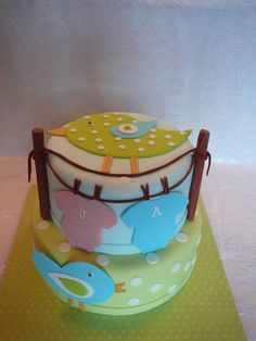 Baby Blue and Green Polka Dot Cake with Clothesline, Pink & Blue Onesies and Blue & Green Birdies