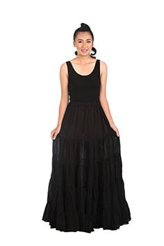 Lannaclothesdesign Womens Cotton Long Ruffle Full Circle Long Skirts Maxi Skirt One Size Black >>> Continue to the product at the image link.
