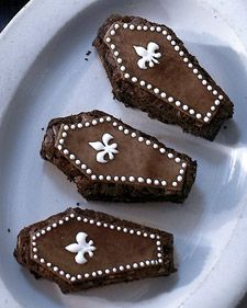 Almond Brownie Coffins....Photocopy the Coffin Templates (see top of page) at 100 percent, and use to cut out the brownies and marzipan coffins.