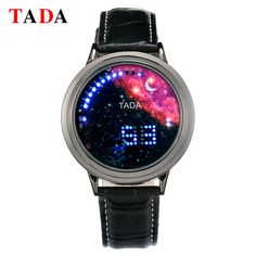 Top new women fashion blue&red moon star face blue round ball led Electronic touch screen sports men leather digital watch Gift
