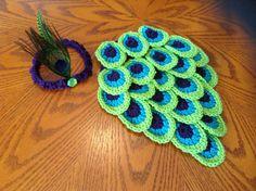 Crochet Newborn Peacock Baby Girl Cape and Headband Set/Photography Prop/Infant Halloween Costume /Baby Shower Gifts/Jewel  Tones on Etsy, $45.00