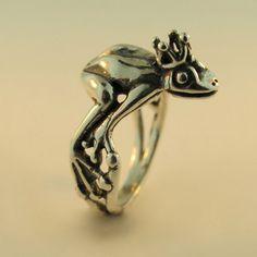 Silver Enchanted Frog Prince Ring