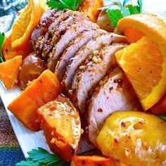 Bourbon Spiced Pork with Sweet Potatoes and Apples Allrecipes.com