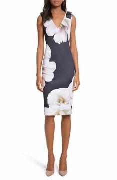 640674319 Ted Baker London Gardenia Bow Shoulder Body-Con Dress Frock Fashion