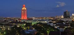 "The University of Texas at Austin  Congratulations to the 3,100 Longhorns graduating this weekend!    The Tower will shine burnt orange (with ""12"" on all sides) Dec. 8 & 9 to honor our Fall graduates."