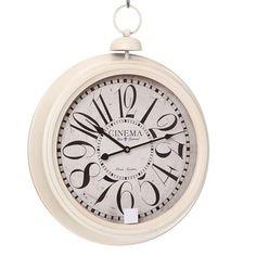 Small Pink Vintage Pocket Watch Design Metal Wall Clock Bathroom