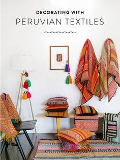 Decorating with Peruvian Textiles Design Hotel, House Design, Peruvian Textiles, Anthropologie Home, Deco Boheme, Bohemian Decor, Home Textile, Living Room Decor, Home Goods