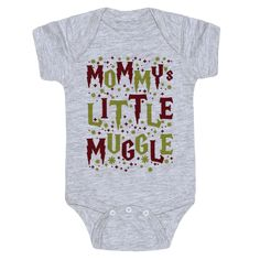 "Mommy's Little Muggle - This Harry Potter themed baby one piece is perfect for nerd parents about to bring another muggle into the world. This baby design features illustrations of stars and sparkles and the phrase ""Daddy's Little Muggle."" This one piece is a perfect baby shower gift for a nerdy mother to be."
