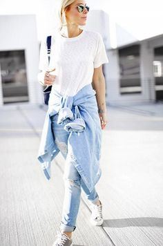 Casual in a white tee + chambray shirt + distressed jeans + sneakers.