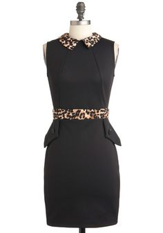 Add red patent leather pumps and this dress is the business.