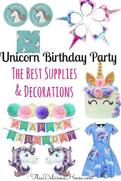 Looking to throw a unicorn birthday party but don't want to spend the time looking for decorations and supplies? Don't miss this complete list of the best unicorn birthday party decorations and ideas that you can order online. #unicornbirthdayparty #unicorndecorations #unicornsupplies #unicornparty #girlsparty #thisdelicioushouse