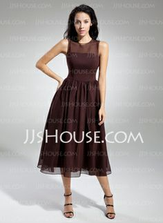 A-Line/Princess Scoop Neck Tea-Length Chiffon Bridesmaid Dresses With Ruffle (007014833) - JJsHouse