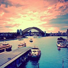 Australia - NSW - Sydney - Sydney Harbour Bridge at Sunset #travel #wanderlust #australia - Explore the World with Travel Nerd Nici, one Country at a Time. http://TravelNerdNici.com