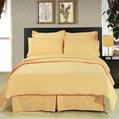 With Love Home Decor - Solid Gold 8 Piece Bedding Set ,  You are invited to experience the comfort, luxury and softness of our Microfiber Bedding set. Silky Soft made from 100% Microfiber with 300 Thread count woven with superior single ply yarn. This set is a combination of THREE different items usually solid separately and were combined in one for Maximum Value.