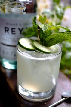 NEW MAID COCKTAIL: Ingredients: 2 ounces Reyka Vodka 3/4 ounce simple syrup 1 ounce lime juice 3 slices cucumber small handful of mint