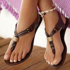 Woman Flat Dark Brown Casual Summer Sandals Women's Flat Heel Sandals Shoes Plus Size Eu34-45