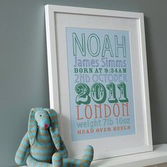 Personalised Birth Date Print: blue - Not on the High Street