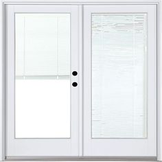 MasterPiece 59-1/4 in. x 79-1/2 in. Fiberglass White Left-Hand Inswing Hinged Patio Door with Low-E Blinds Between Glass, Smooth White Interior And Exterior