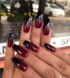nails red and black ombre & nails red and black & nails red and black design & nails red and black acrylic & nails red and black prom & nails red and black glitter & nails red and black matte & nails red and black ombre & nails red and black coffin Black Ombre Nails, Dark Red Nails, Coffin Nails Ombre, Black Acrylic Nails, Glitter Nails, Gradient Nails, Black Glitter, Ambre Nails, Adelaine Kane