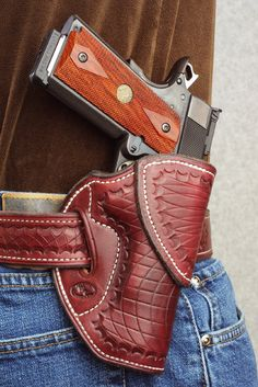 Tucker GunLeather offers different types of gun holsters to choose and compare from. Their craftsmanship for a leather holster is amazed at beautiful work. Check out what great at a store. 1911 Leather Holster, 1911 Holster, Custom Leather Holsters, Pistol Holster, Pistol Case, Knife Holster, Concealed Carry Holsters, Leather Projects, Leather Tooling