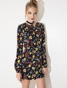 Folk Floral Dress - 70's Shift Dress