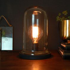 Vintage Desk Table Cloche Glass Bell Lamp