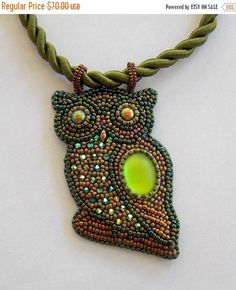 Sale-15% Owl pendant Bead embroidery Beaded necklace green