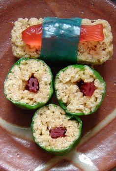 Dessert sushi; rice Krispie treats, fruit roll-ups, twizzlers, swedish fish