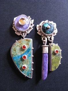 jewelry image of Sterling Silver, Citrine on Charoite, Carnelian on Azurite, Tibetan Turquoise, Charoite, Carnelian on Serpentine.    $400.