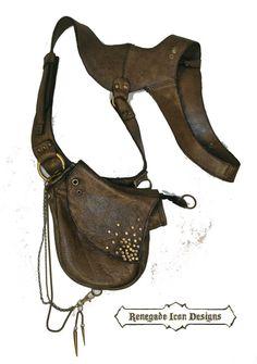 Leather Holster bag, shoulder holster, festival bag, burning man, Utility: Anti…