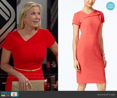 Tahari ASL Short-Sleeve Asymmetrical Sheath Dress worn by Katherine Kelly Lang on The Bold & the Beautiful