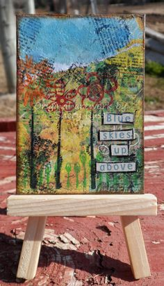 """""""Blue Skies"""" Original Mixed Media ACEO Collage. 2.5"""" by 3.5"""" - $9.95 - Free shipping in the US.Created 2013-01-12"""