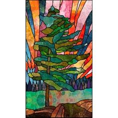 Pine and Northern Lights Stained Glass Pattern