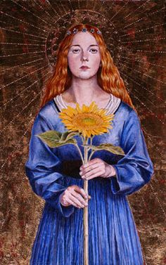 Flower Saint - The patron saint of florists and gardeners, Santa Dorotea, is pictured holding a sunflower in this oil and gold leaf painting by Juan Wijngaard.
