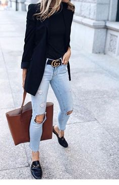 I like this look for work is part of Casual office attire - Popular Ladies Komplette Outfits, Fall Outfits, Casual Outfits, Fashion Outfits, Womens Fashion, Sweater Outfits, Fashion Trends, Black Blazer Outfits, Black Blazer Casual