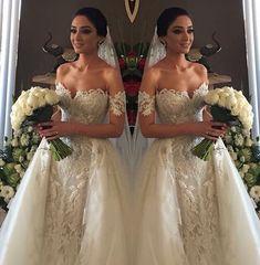 2016 Off Shoulder Detachable Train Wedding Dress Crystal Lace Beads Bridal Gowns Crystal Wedding Dresses, Dream Wedding Dresses, Wedding Bells, Bridal Dresses, Wedding Gowns, Wedding Attire, Dream Dress, Perfect Wedding, Wedding Styles