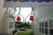 Genuine UK english seaglass english bright rare red  earrings in silver teardrop
