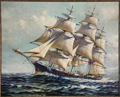 """H. SILVA FERNANDEZ (MA, 20th c.) - Clipper Ship, oil on canvas, original signature lower right mostly obscured by frame, re-signed in block letters in lower right corner, in silver leaf molded frame. OS: 33 1/2"""" x 40 1/2"""", SS: 27 3/4"""" x 34 3/4""""."""