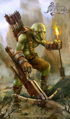 """Goblin Crossbow Flaming Heavy forest hills farmland mountains underdark Arts from the last year project """"War of legends\Война легенд"""" © 2015 Real Games Fantasy Races, Fantasy Rpg, Medieval Fantasy, Goblin Art, Goblin King, Fantasy Character Design, Character Inspiration, Character Art, Dnd Characters"""