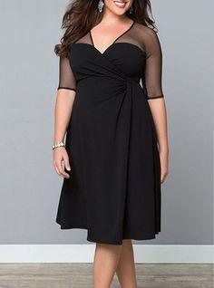 3d12c6ad40344 Plus Size Midi Dress - Black / Mesh Shoulder and Sleeves / V Neck Plus Size