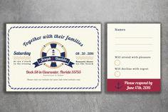 Affordable Nautical Wedding Invitations Set Printed - Cheap Wedding Invitations, Navy Wedding Invitation, RSVP, L33G, Light House, Boat