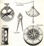 Les instruments de mesure etait la boussole, le compas, le sablier, le quadrant.