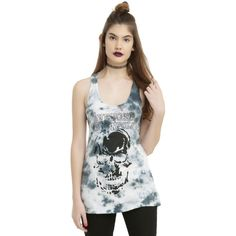 Hot Topic Avenged Sevenfold Tie Dye Skull Logo Girls Tank Top ($21) ❤ liked on Polyvore featuring tops, logo tank, tie dye tank, logo tank tops, tye dye tops and skull tank tops