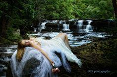Interesting take on the waterfall, dress type shoot