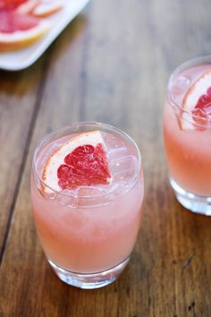 Ginger Grapefruit Fizz - Vodka, Domaine de Canton Ginger Liqueur, Grapefruit Juice, Lime Juice, Ginger Beer, Grapefruit Wedge.