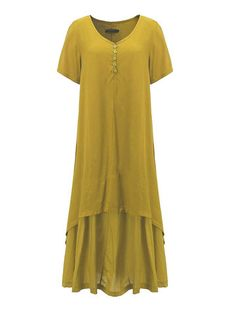 Vintage Solid Button Layer Pleated High Low Maxi Dress For Women